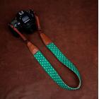 """Ремень нашейный для фотокамеры Cam-in """"Jeans"""" Зелёный в белый горошек"""